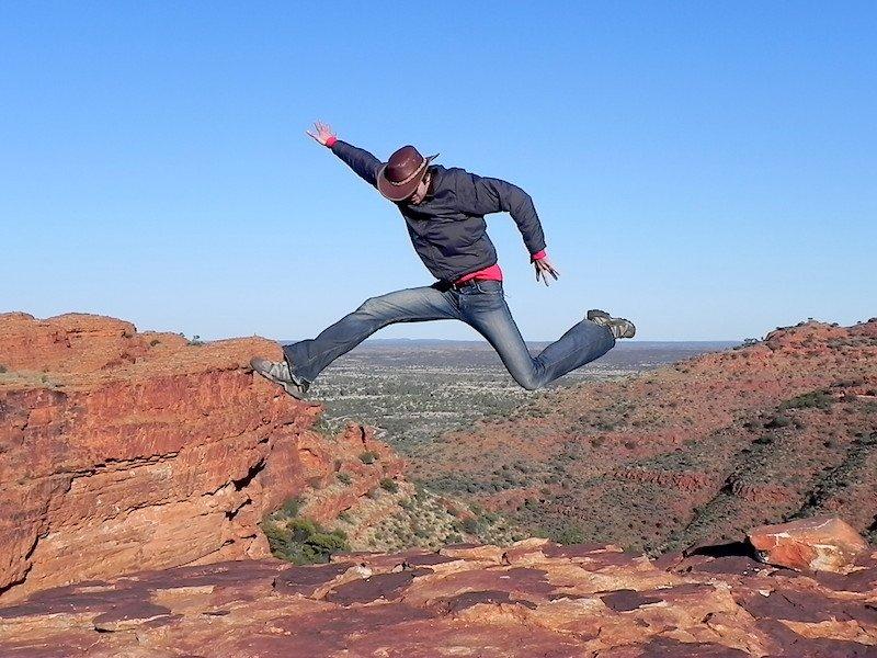 Adrian jumping at Kings Canyon, Australia