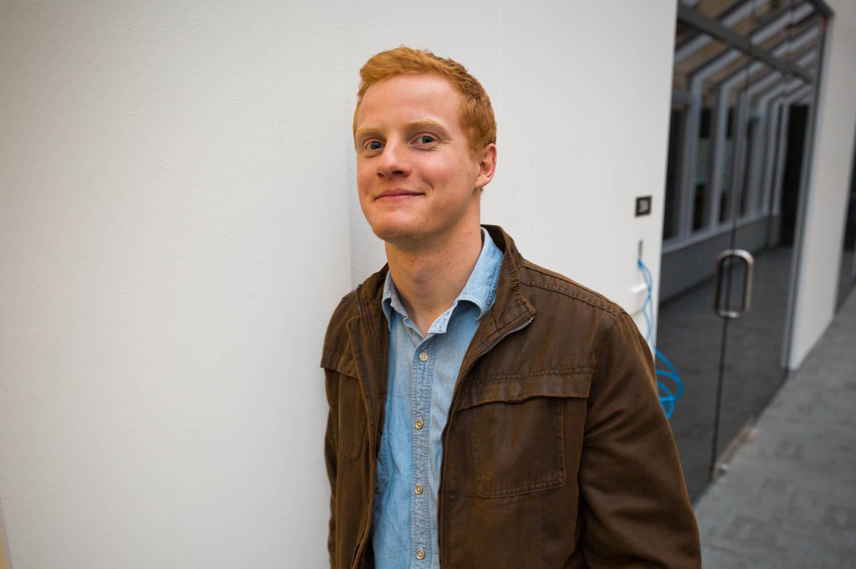 Matt in front of the office